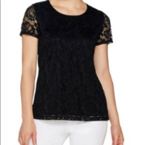 Susan Graver Liquid Knit Top with Lace Front xs